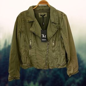 TeseroModa Olive Ultility Moto Jacket